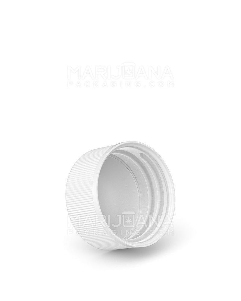 Child Resistant | Ribbed Push Down & Turn Caps with Text | 28mm - White Plastic - 504 Count | Dispensary Supply | Marijuana Packaging