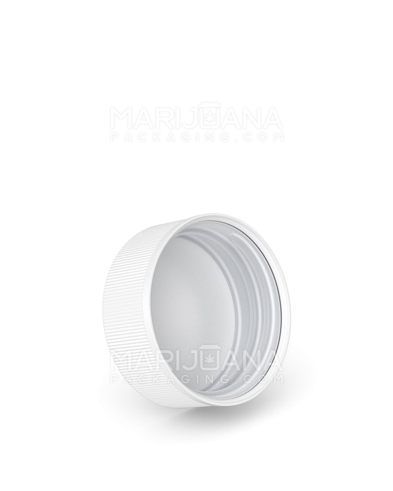 Child Resistant | Ribbed Push Down & Turn Caps with Text | 38mm - White Plastic - 320 Count | Dispensary Supply | Marijuana Packaging