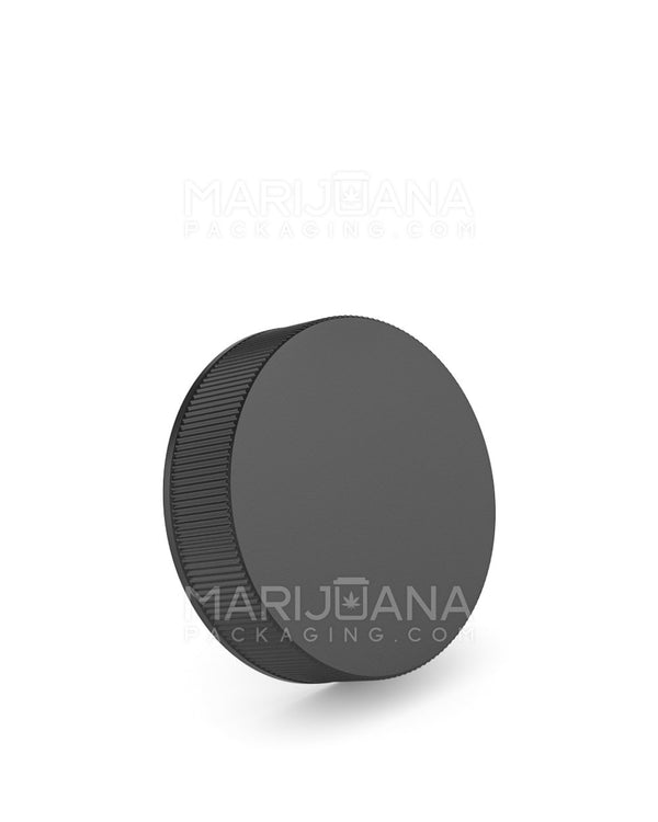 Child Resistant | Ribbed Screw Top Caps | 50mm - Black Plastic - 100 Count | Dispensary Supply | Marijuana Packaging