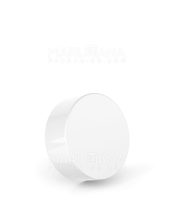 Child Resistant | Smooth Push Down & Turn Caps | 38mm - Glossy White Plastic - 320 Count | Dispensary Supply | Marijuana Packaging