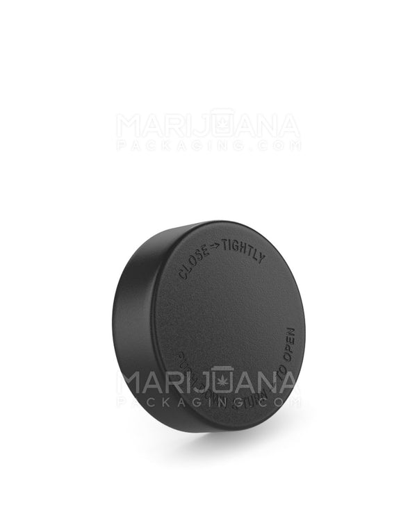 Child Resistant | Smooth Push Down & Turn Caps | 48mm - Black Plastic - 100 Count | Dispensary Supply | Marijuana Packaging