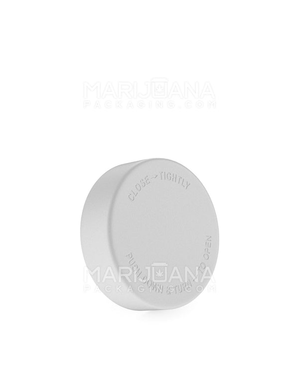 Child Resistant | Smooth Push Down & Turn Caps | 48mm - White Plastic - 100 Count | Dispensary Supply | Marijuana Packaging