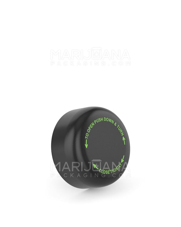 Child Resistant | Smooth Push Down & Turn Caps with Text | 29mm - Black Plastic - 504 Count | Dispensary Supply | Marijuana Packaging