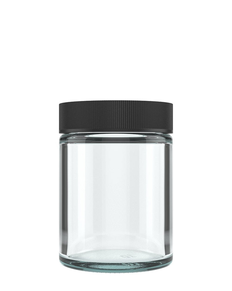 Child Resistant | Straight Sided Glass Jars with Black Cap | 50mm - 4oz - 100 Count | Dispensary Supply | Marijuana Packaging