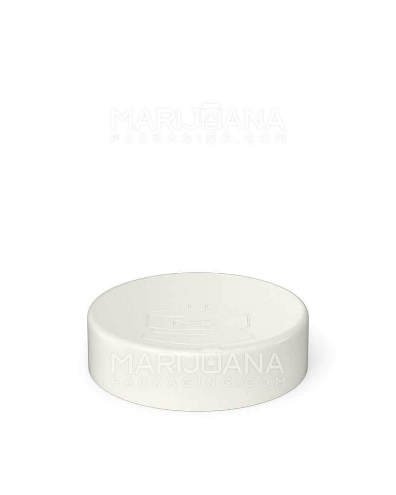 Child Resistant & Sustainable | 100% Recyclable White Smooth Push Down & Turn Caps | 53mm – Reclaimed Ocean Plastic - 120 Count | Dispensary Supply | Marijuana Packaging