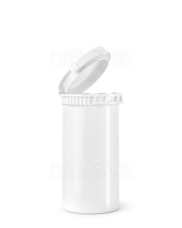 Child Resistant & Tamper Evident | Opaque White Pop Top Bottles | 13dr - 2g - 350 Count | Dispensary Supply | Marijuana Packaging