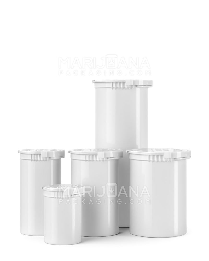 Child Resistant & Tamper Evident | Opaque White Pop Top Bottles | 30dr - 7g - 168 Count | Dispensary Supply | Marijuana Packaging