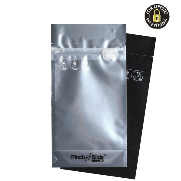 "Pinch N Slide 2.0 Child Resistant Mylar Bags - Black Vista - Fits 14g - 5"" x 8.5"" - 250 Count"