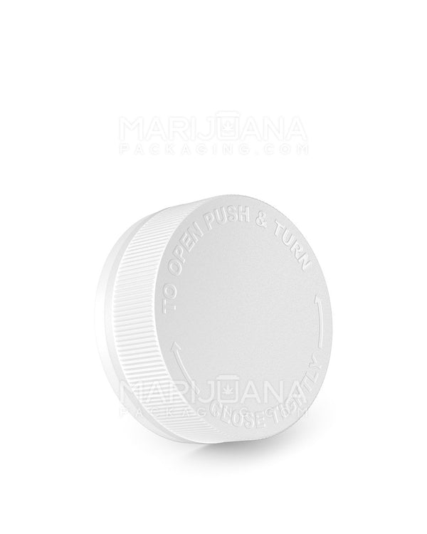 Child Resistant & Tamper Evident | Ribbed Screw Top Caps with Foam Liner | 53mm - White Plastic - 600 Count | Dispensary Supply | Marijuana Packaging
