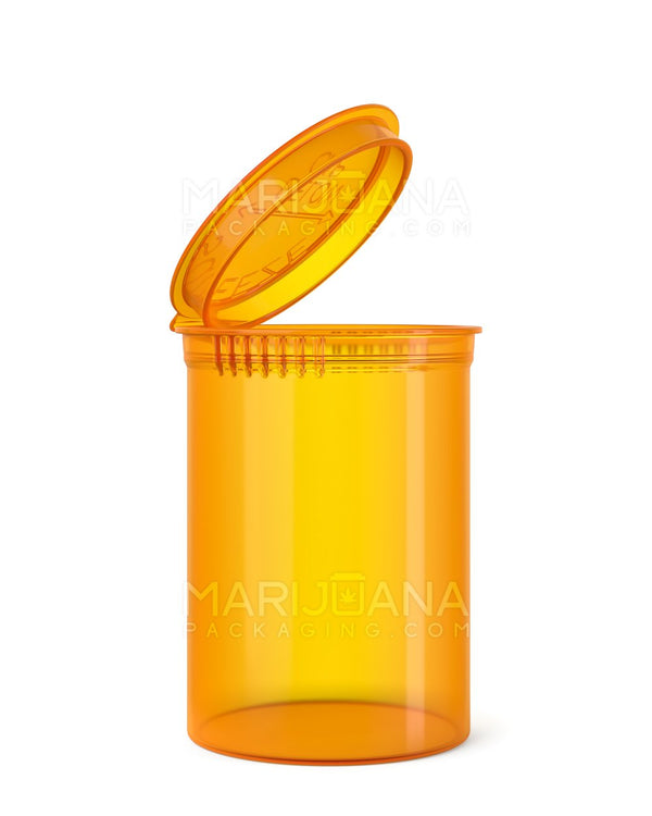 Child Resistant | Transparent Amber Pop Top Bottles | 30dr - 7g - 150 Count | Dispensary Supply | Marijuana Packaging