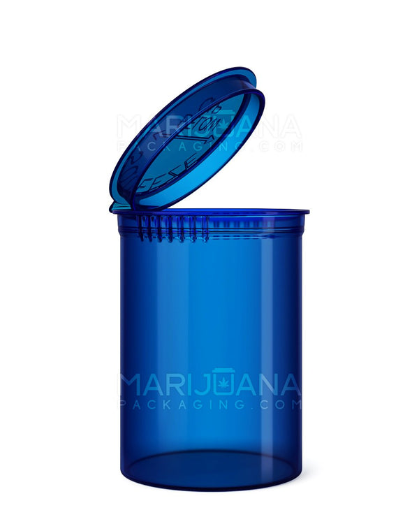 Child Resistant | Transparent Blue Pop Top Bottles | 30dr - 7g - 150 Count | Dispensary Supply | Marijuana Packaging