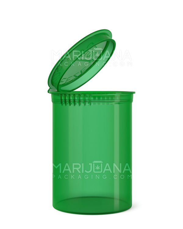 Child Resistant | Transparent Green Pop Top Bottles | 30dr - 7g - 150 Count | Dispensary Supply | Marijuana Packaging