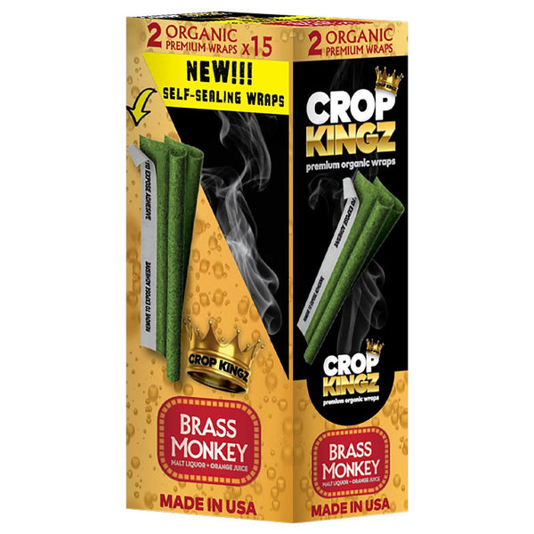 Crop Kingz | Organic Hemp Blunt Wraps | Self Sealing - Brass Monkey - 15 Count | Smoke Shop Supply | Marijuana Packaging