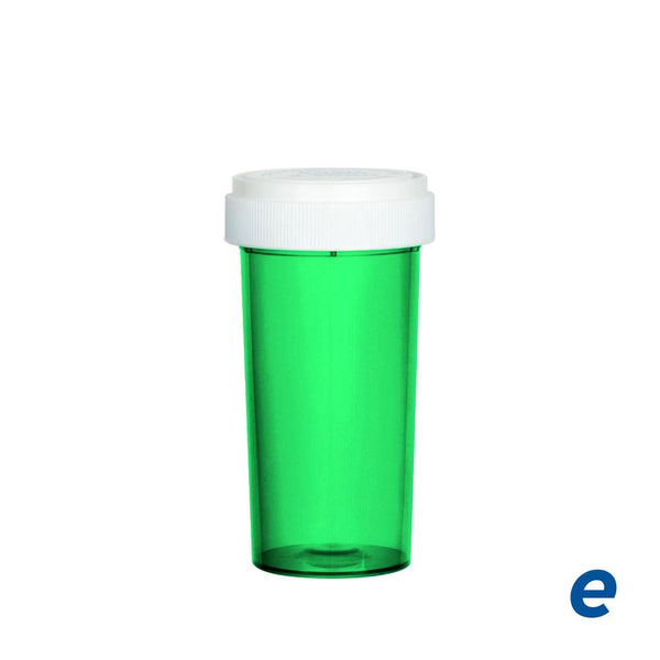 Economy Reversible Cap Vial Green 40 Dram - 150 Count | Dispensary Supply | Marijuana Packaging