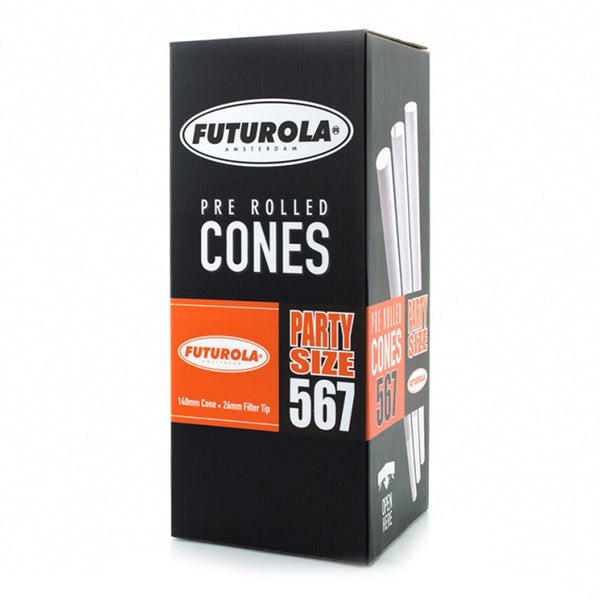 FUTUROLA Party Size Pre-Rolled Cones | 140mm - Classic White Paper - 567 Count | Dispensary Supply | Marijuana Packaging