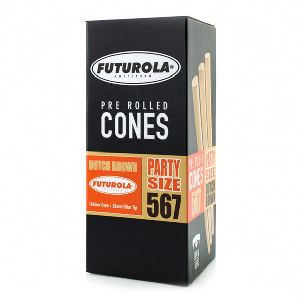 FUTUROLA Party Size Pre-Rolled Cones | 140mm - Dutch Brown Paper - 567 Count | Dispensary Supply | Marijuana Packaging