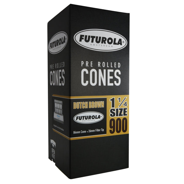 Futurola Dutch Brown Pre Rolled Cones - 1 1/4 Size 84/26 - 900 Count