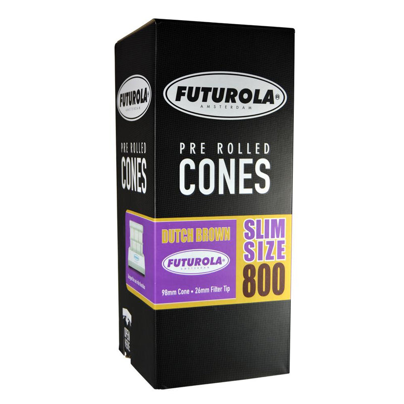 FUTUROLA Slim Size Pre-Rolled Cones | 98mm - Dutch Brown Paper – 800 Count | Smoke Shop Supply | Marijuana Packaging