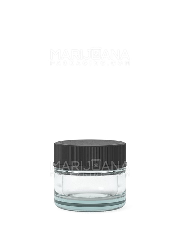 Glass Concentrate Containers with Black Cap | 28mm - 5ml - 250 Count | Dispensary Supply | Marijuana Packaging