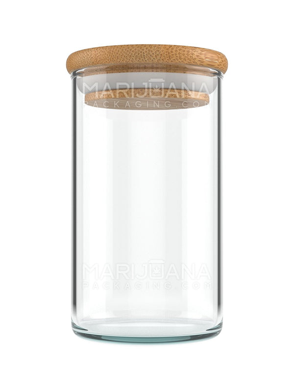 Glass Jar with Wooden Lid | Clear Glass - 10oz - 80 Count | Dispensary Supply | Marijuana Packaging