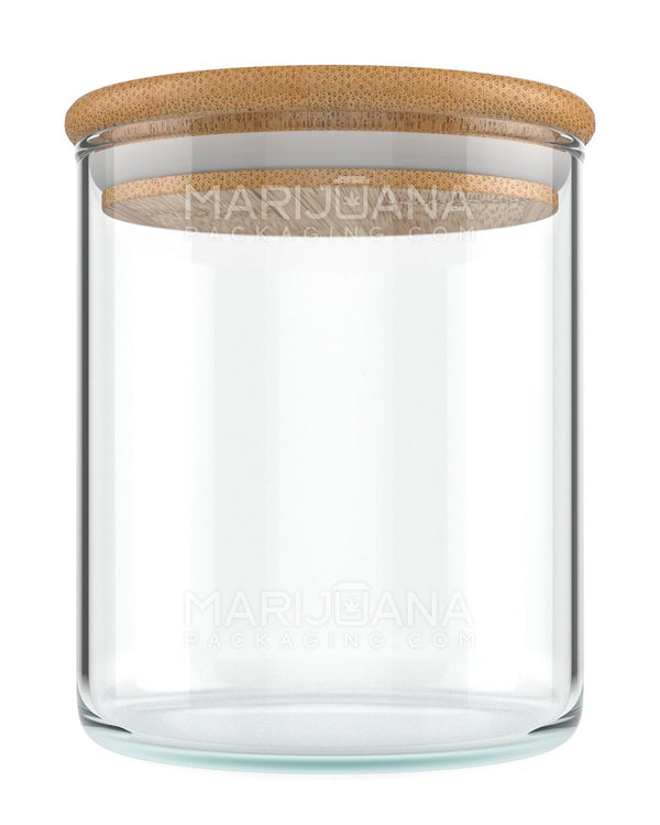 Glass Jar with Wooden Lid | Clear Glass - 18oz - 40 Count | Dispensary Supply | Marijuana Packaging