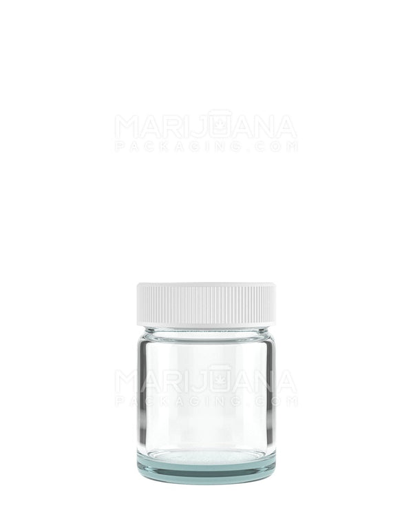 Glass Jars with White Cap | 38mm - 1oz - 252 Count | Dispensary Supply | Marijuana Packaging