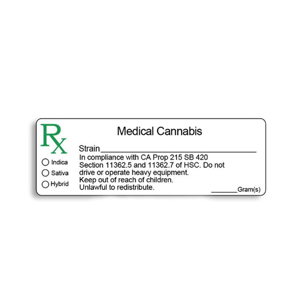 Glossy California Medical Labels - 1,000 Count