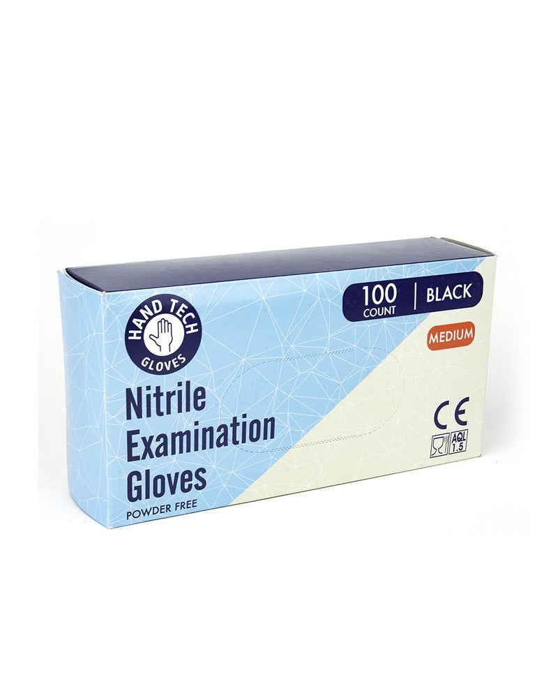 Hand Tech Black Nitrile Powder-Free Gloves - 100 Count | Dispensary Supply | Marijuana Packaging