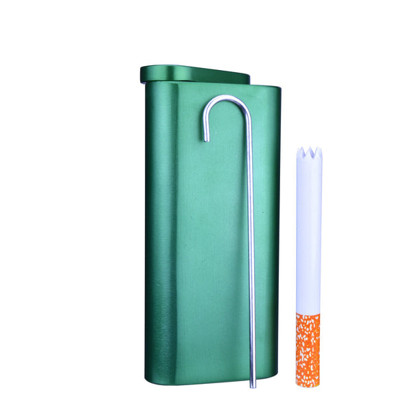 Magnetic Metal Dugout with Pipe | 101mm - Matte Metal - 3 Pieces | Smoke Shop Supply | Marijuana Packaging
