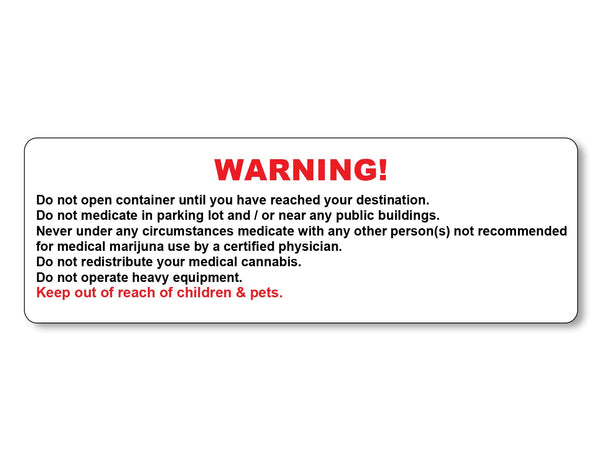 Marijuana Warning Labels - Generic - 1,000 Count