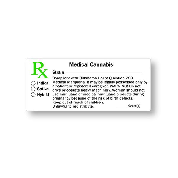 Oklahoma Medical Cannabis Labels - 1000 Count | Dispensary Supply | Marijuana Packaging