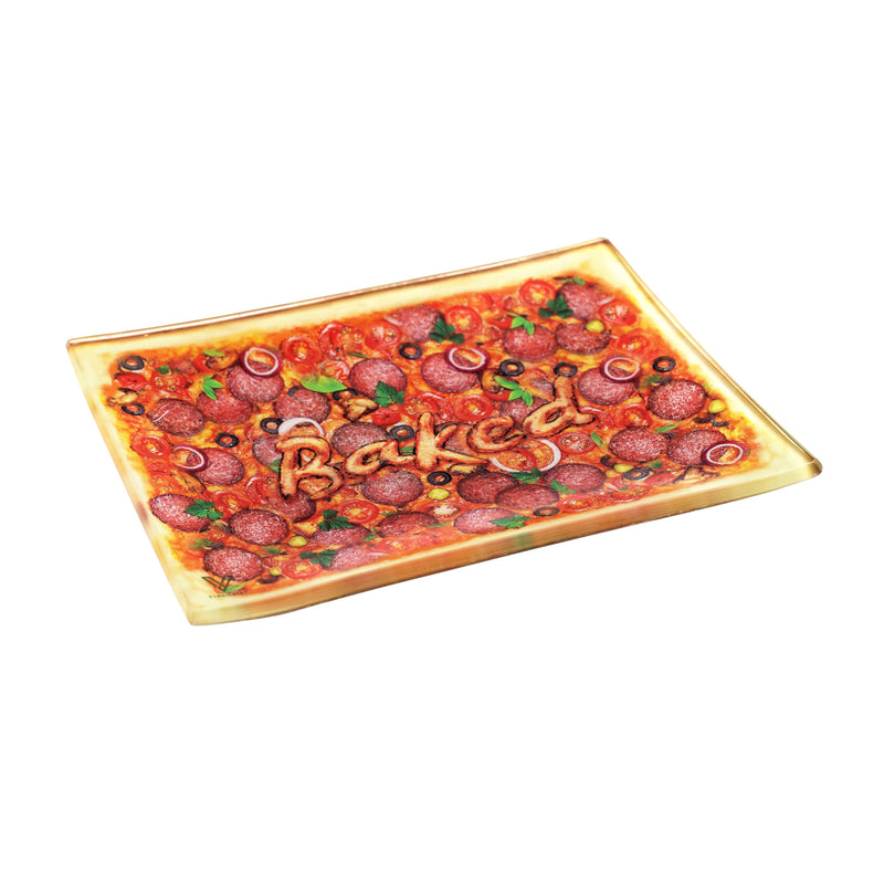 Pizza Small Glass Rolling Tray