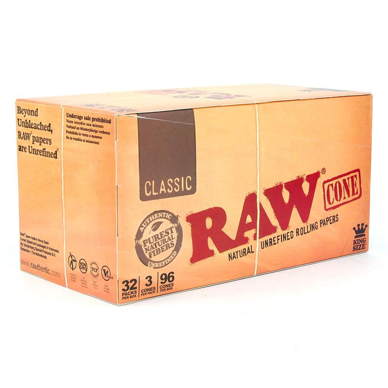 Retail Display | RAW Classic King Size Pre-Rolled Cones | 109mm - Hemp Paper - 96 Count | Smoke Shop Supply | Marijuana Packaging