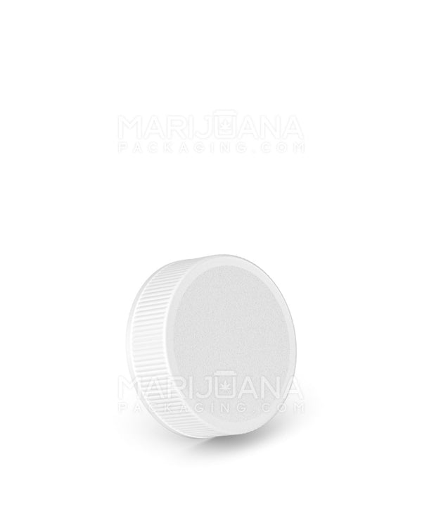 Ribbed Screw Top Caps | 28mm - White Plastic - 250 Count | Dispensary Supply | Marijuana Packaging