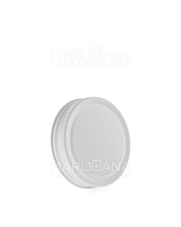Ribbed Screw Top Caps | 53mm - Glossy White Metal Tin - 120 Count | Dispensary Supply | Marijuana Packaging