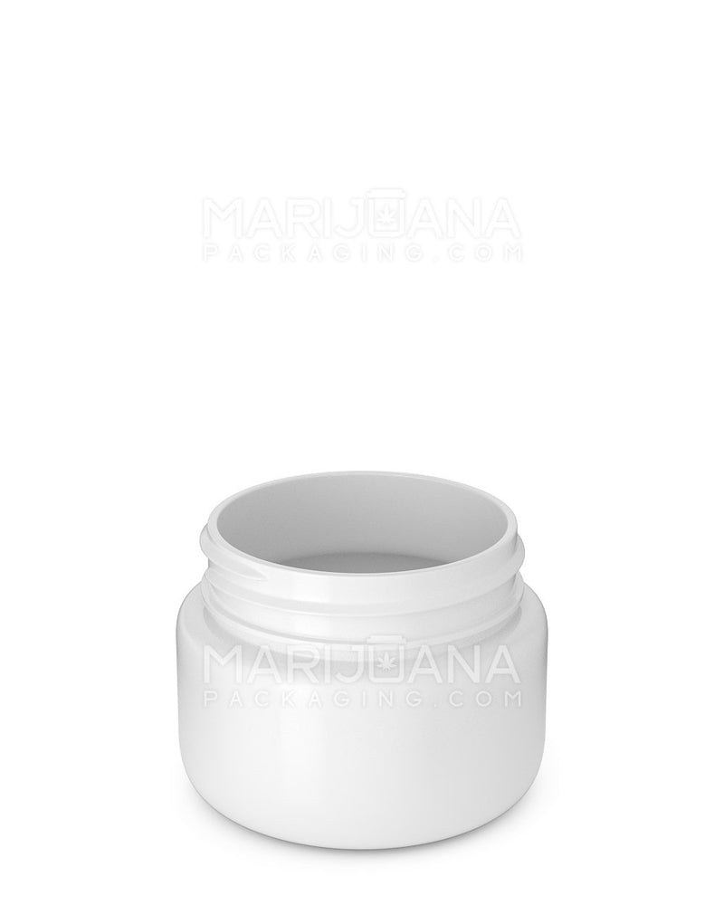 Rounded Base White Plastic Jars | 53mm - 2.5oz - 600 Count | Dispensary Supply | Marijuana Packaging