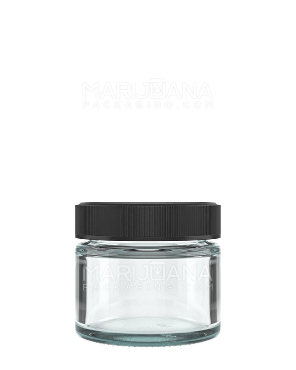 Straight Sided Glass Jars with Black Cap | 53mm - 2oz - 240 Count | Dispensary Supply | Marijuana Packaging