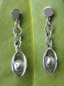 Stainless Steel Ball and Cage Dangle Earrings