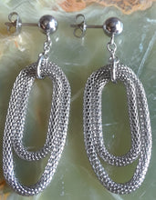 Stainless Steel Double Loop Mesh Earrings