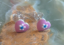 Sterling Silver Pink Heart Earrings