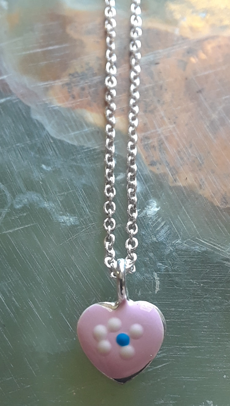 Sterling Silver Pink Heart Pendant With Chain