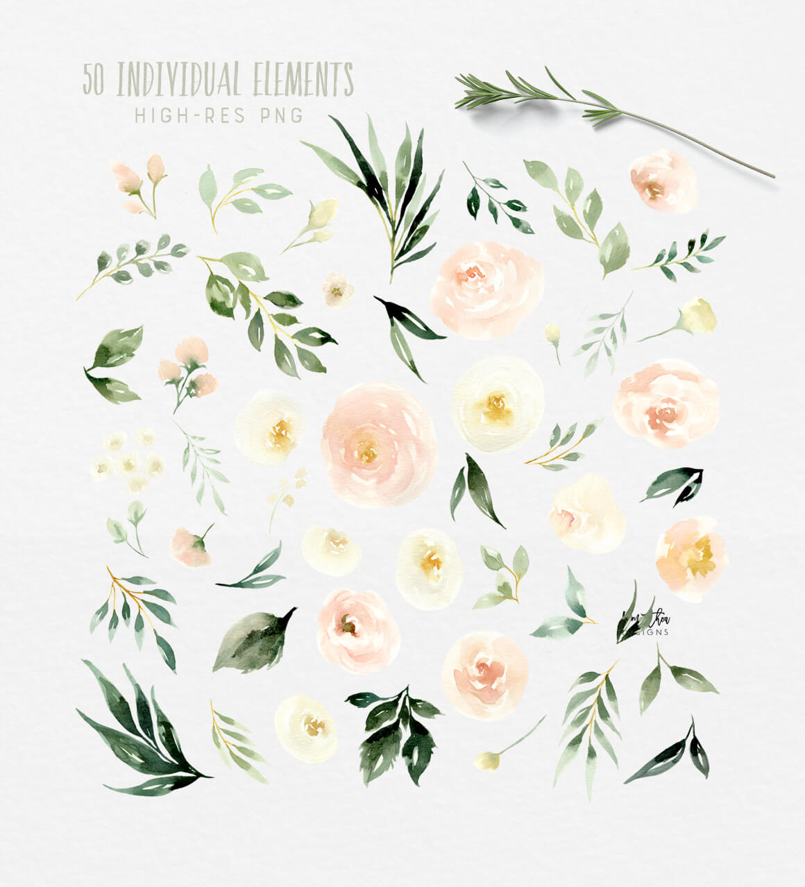 Blush and Ivory Flowers with Greenery Watercolor Design Set