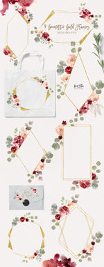 Bohemian Burgundy and Dusty Rose Watercolor Design Set