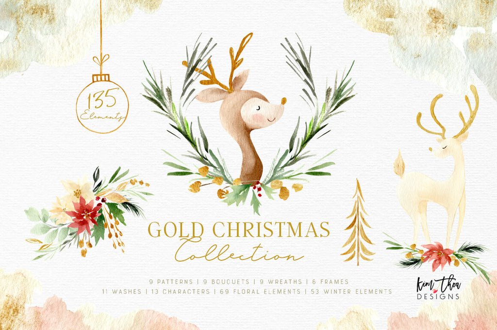 Gold Christmas Collection Design Set