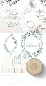 Misty Blue Greenery Design Set