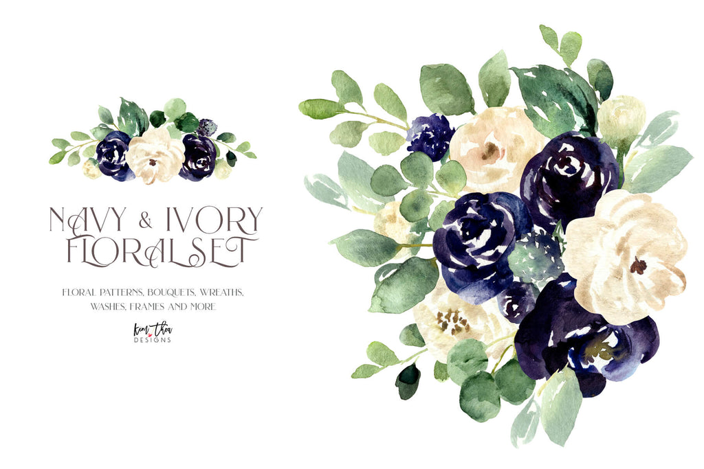 Navy and Ivory with Greenery Watercolor Design Set