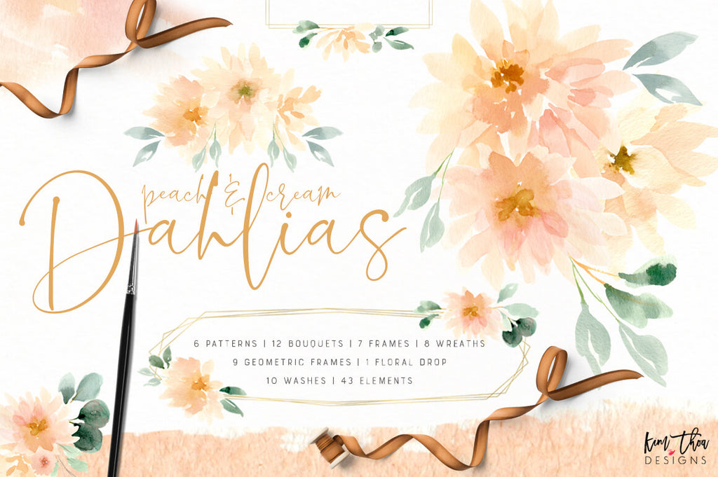 Peach and Cream Dahlias Design Set