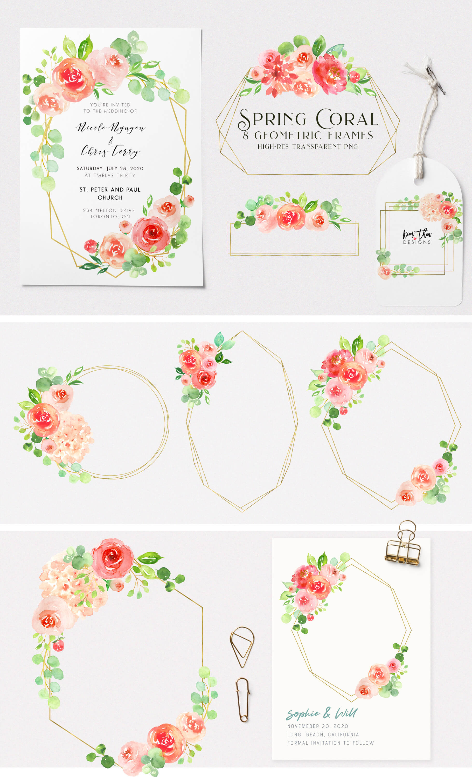 Spring Coral Watercolor Design Set