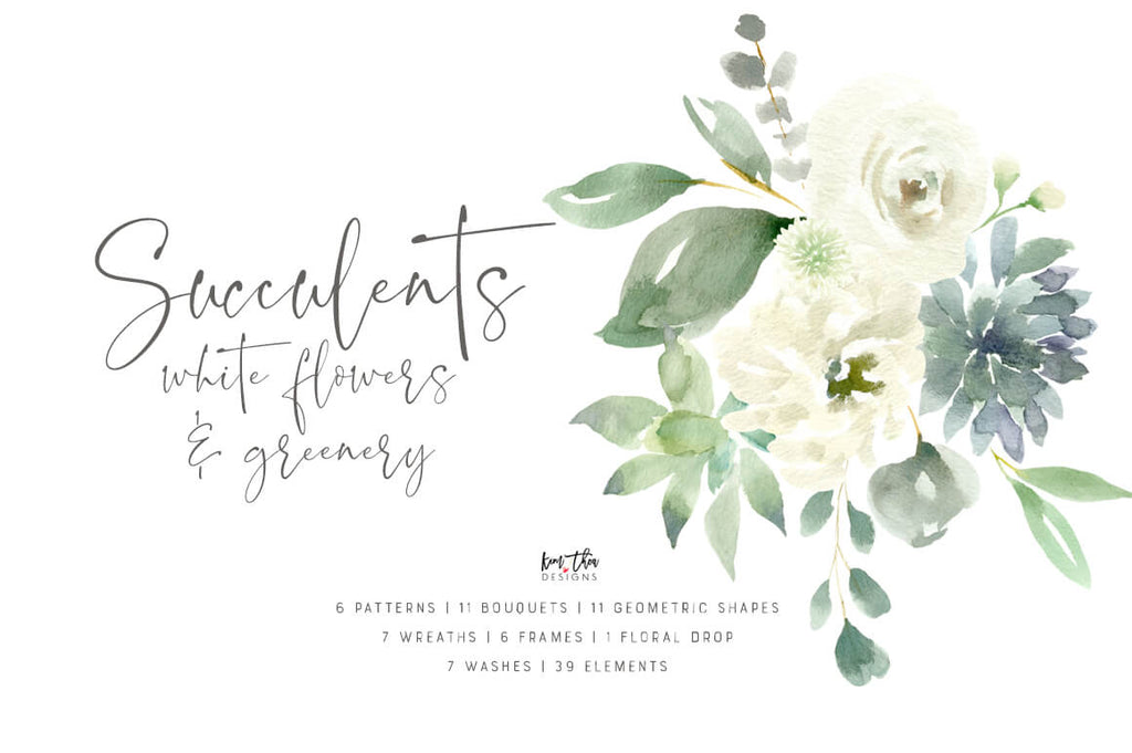 Succulents, White Flowers and Greenery Design Set