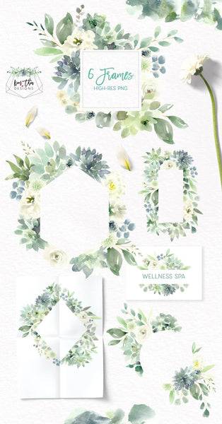 Succulents White Flowers And Greenery Design Set Kim